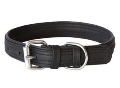 Rogz leather collar medium BLACK